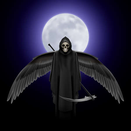 Grim Reaper with huge wings over full moon background Vector