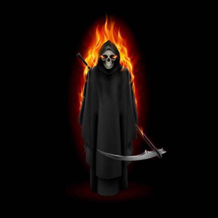 grim: Grim Reaper in orange flame over black background