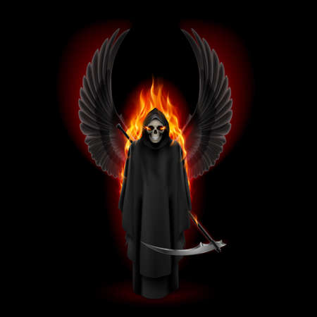 Grim Reaper with two wings up in orange flame