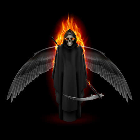 Grim Reaper with wings and orange flame Vector