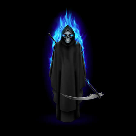 Grim Reaper in blue flame over black baclground Illustration