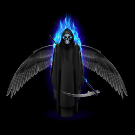 cowl: Grim Reaper with wings and blue flame