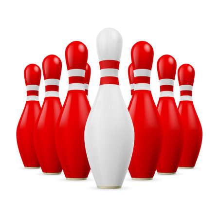 kegelen: Driehoek van rode kegels. Eerste kegel is wit.