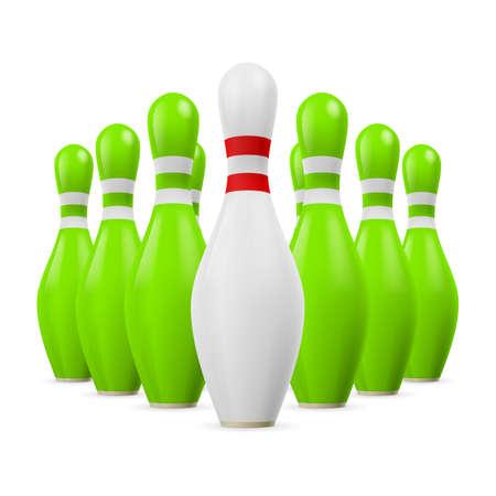 kegelen: Driehoek van groene kegels. Eerste kegel is wit. Stock Illustratie