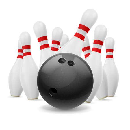 quilles: Quilles blanches et grosse boule noire. Gr�ve. Illustration