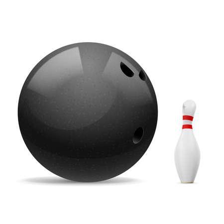 kegelen: Grote zwarte bal schrikt een kleine witte kegel.