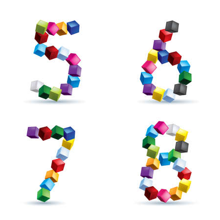 6 7: Figures 5, 6, 7 and 8 made of colored blocks.
