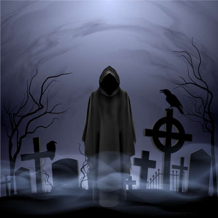 Faceless angel of death in loose overall among graves in the cemetery. Vector