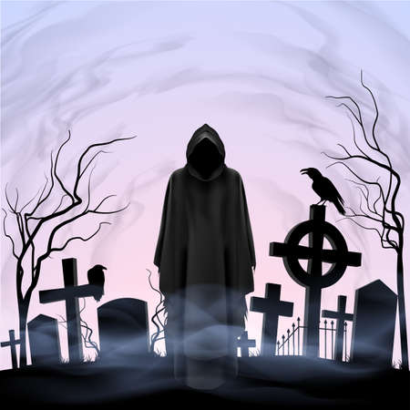 Faceless angel of death among graves in the cemetery. Twilight Vector