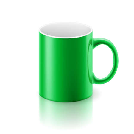 light reflex: Green glossy  mug on the white background. Illustration
