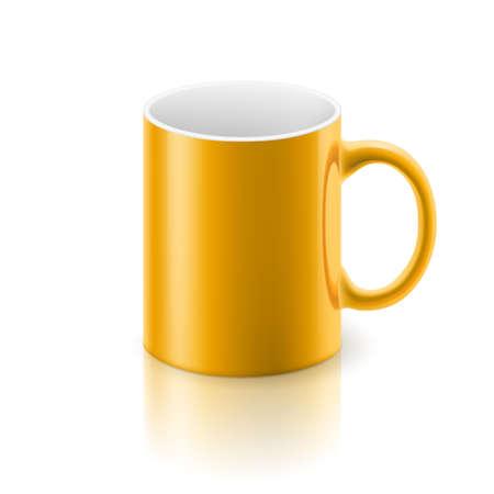 satined: Yellow glossy  mug on the white background.