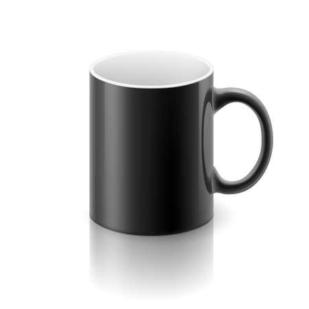 glossiness: Black glossy  mug on the white background.