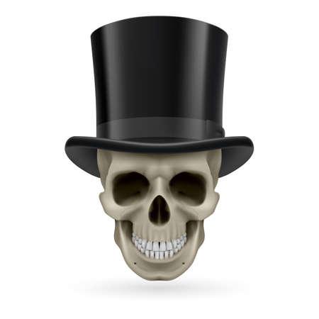 hatband: Human skull wearing a black top hat.