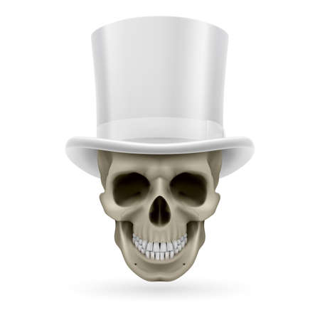 Human skull wearing a white top hat. Vector