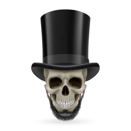 hatband: Human skull with beard wearing a black top hat.