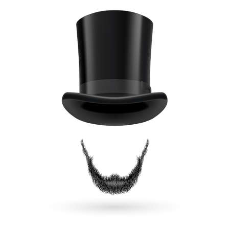 hatband: Invisible man with Lincoln beard wearing top hat.