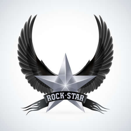 Silver star with Rock Star banner and black wings. Illustration on white background Vector