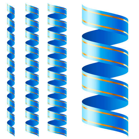 skyblue: Vertical blue ribbon of different sizes on a white background Illustration