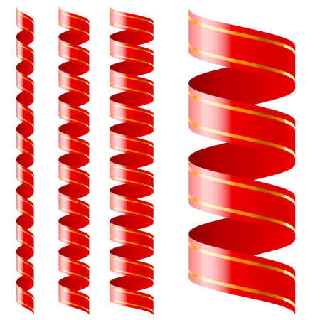 Vertical  red ribbon of different sizes on a white background Vector