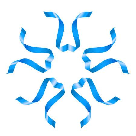 skyblue: Beautiful blue flower of swirled ribbons on white background Illustration