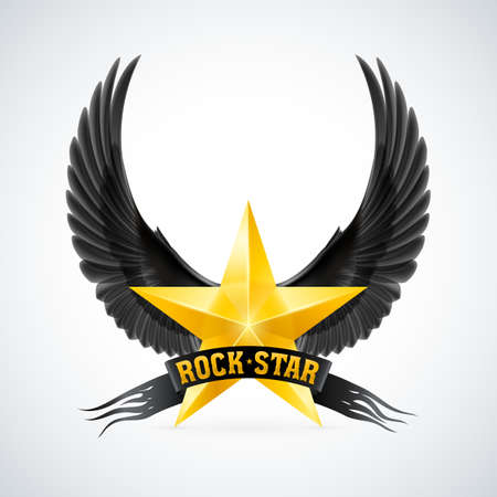 Golden star with Rock Star banner and black wings. Illustration on white background Vector
