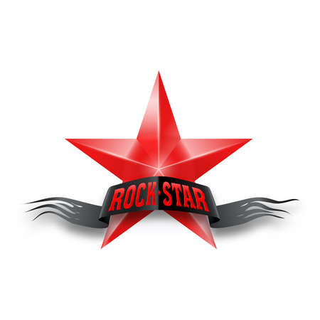 rock star: Red star with black torn Rock Star banner. Illustration on white background