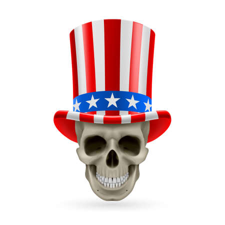 uncle sam hat: Human skull wearing Uncle Sam hat on white background.