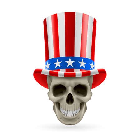 hatband: Human skull wearing Uncle Sam hat on white background.