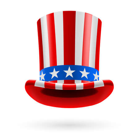 top hat: Top hat made of United States flag. Uncle Sam hat.