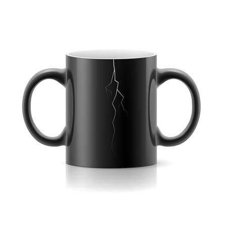 handles: Black cracked cup with two handles on a white background