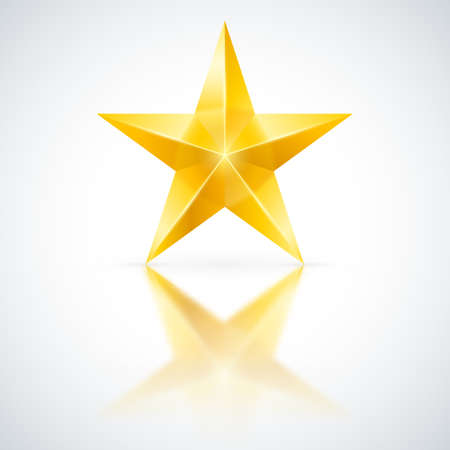 pentagram: Yellow star of five points on white background.