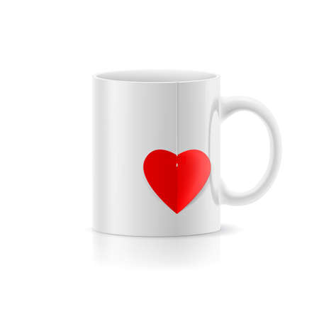teabag: White cup with teabag in the form of heart Illustration