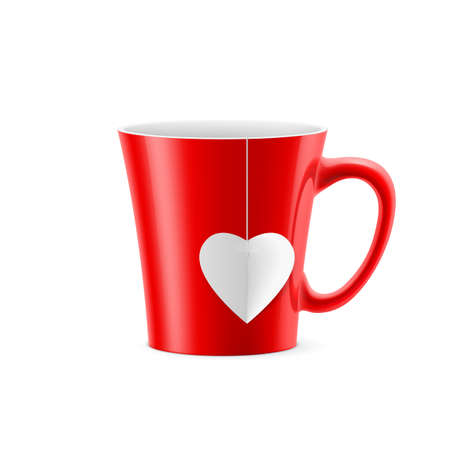 Red cup with tapered bottom with a tea bag in the form of heart Vector