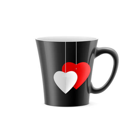 Black cup with tapered bottom with a tea bag in the form of hearts Vector