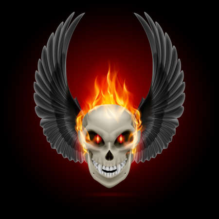 Mutant skull with orange flame and raised wings Vector