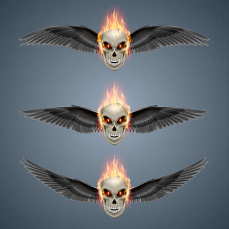 mutant: Set of mutant skulls with orange flame and black wings