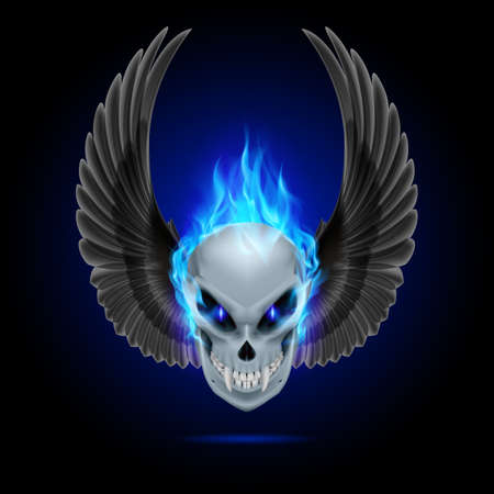 blue flame: Mutant skull with long fangs, blue flame and raised wings