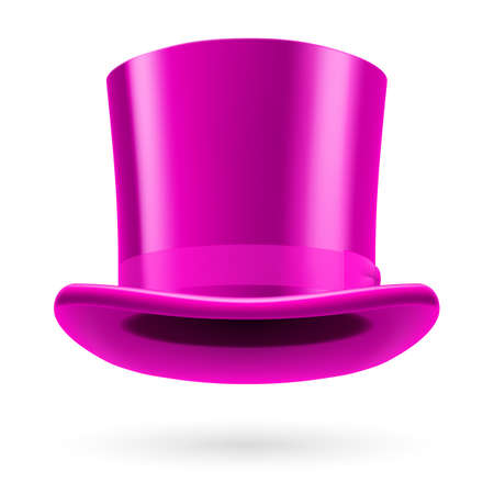 bowknot: Pink top hat on the white background.