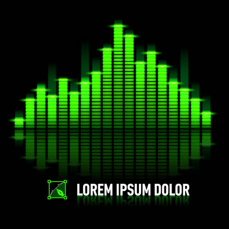 Green digital equalizer with reflection over black background Vector