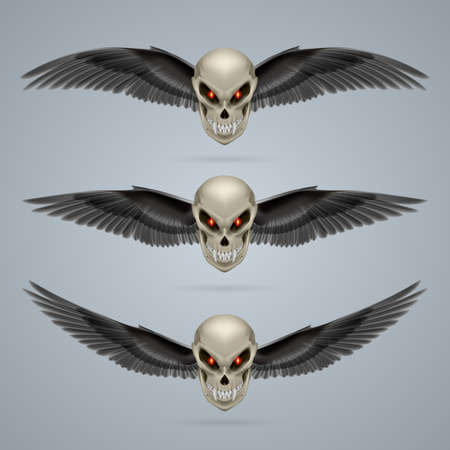 fangs: Set of mutant skulls with long fangs and black wings