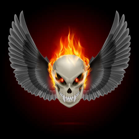 scary face: Mutant skull with long fangs, orange flame and black wings Illustration