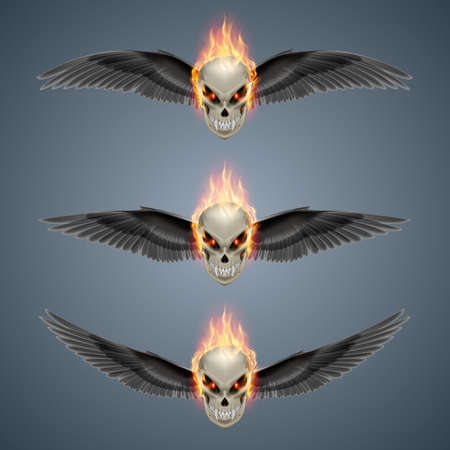 mutant: Set of mutant skulls with long fangs, orange flame and black wings