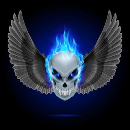 Mutant skull with long fangs, blue flame and black wings Vector