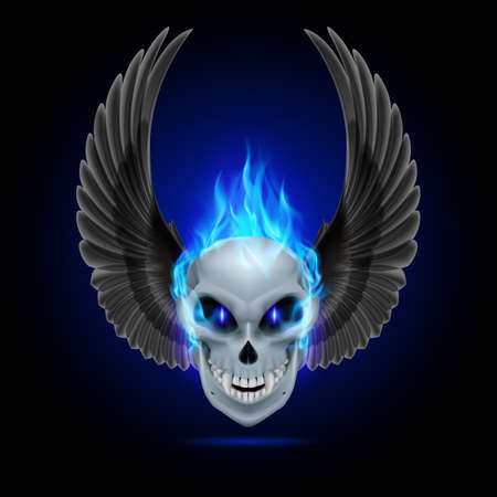 fire skull: Mutant skull with blue flame and raised wings Illustration