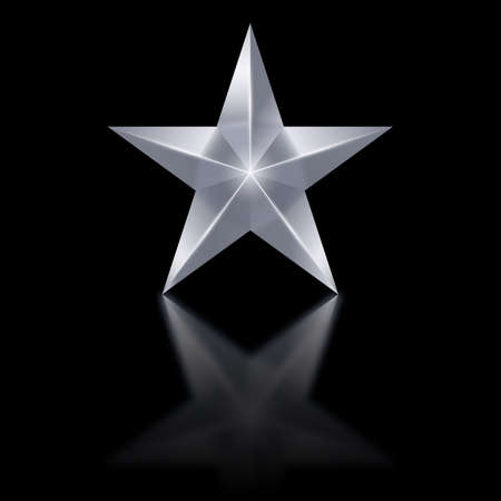 Silver star of five points on black background.