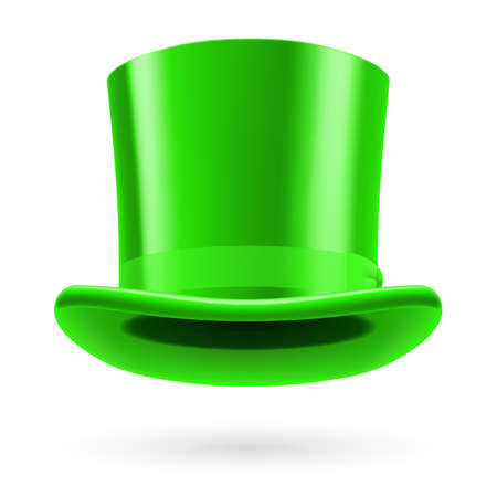 bowknot: Green top hat on the white background.