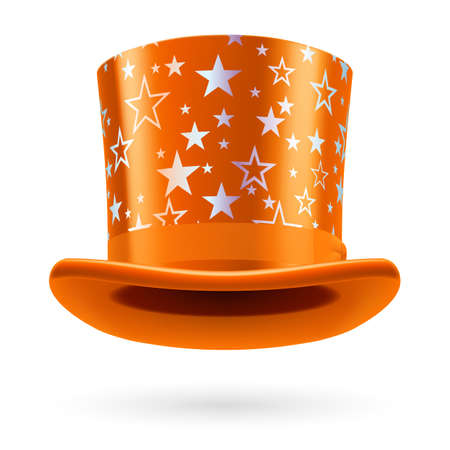 top hat: Orange hat with white stars on the white background. Illustration