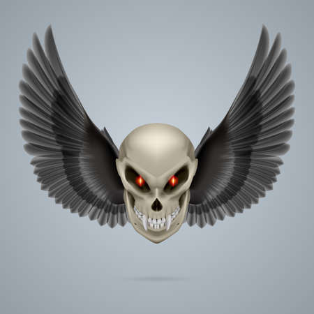 fangs: Evil looking mutant skull with long fangs and black wings