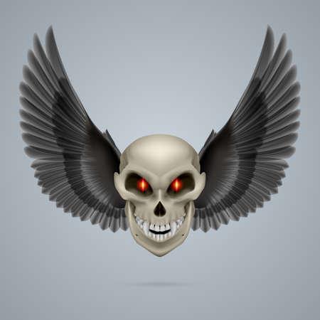 mutant: Evil looking mutant skull with black wings