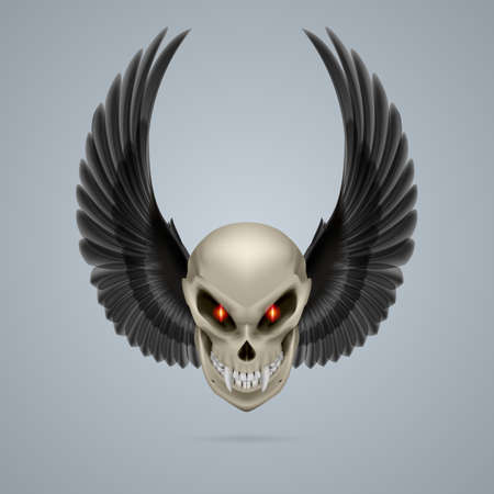 terrifying: Terrifying mutant skull with long fangs and black wings Illustration